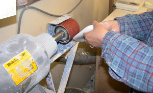grinding the shell of the orthotic